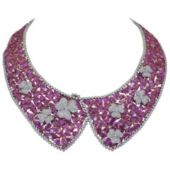238.27 Carat Mixed Cut Pink Sapphire and Diamond Collar Necklace
