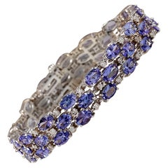 23.85 Carat Tanzanite 18 Karat White Gold Diamond Bracelet