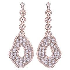 23.87 Carat Diamonds 18 Kt. Rose Gold Drop Earrings