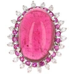 23.87 Carat Tourmaline Pink Sapphire Diamond 18 Karat White Gold Ring
