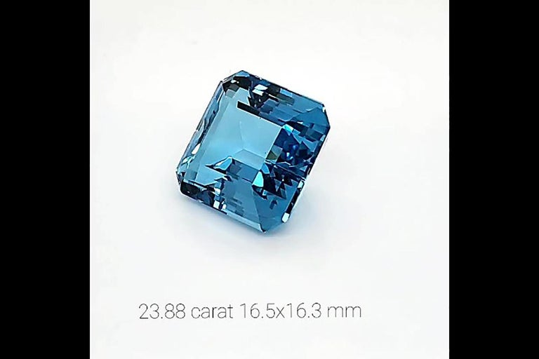 23.88 carat Natural Blue Ascher cut Aquamarine gemstone, of a high quality intense blue, transparent mineral with no inclusions, perfect choice for collectors or to commission a custom, unique piece of jewelry with it. We are master jewelers with a