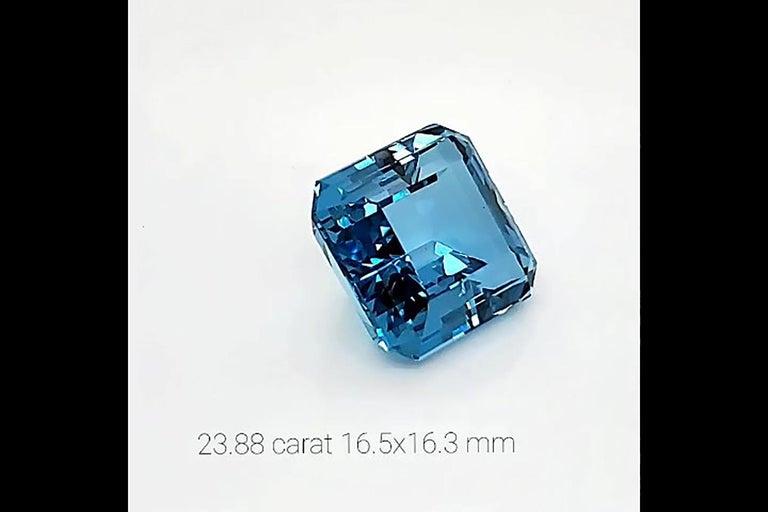 Women's or Men's 23.88 Carat Intense Blue Ascher Aquamarine Natural Gemstone For Sale