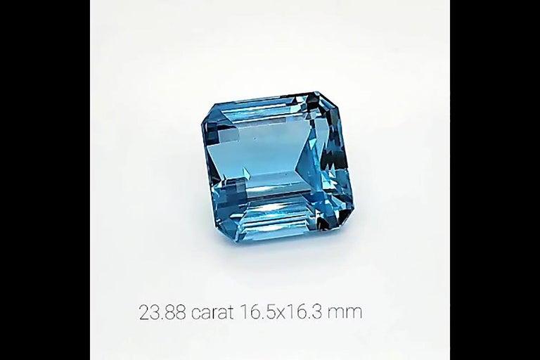 23.88 Carat Intense Blue Ascher Aquamarine Natural Gemstone For Sale 1