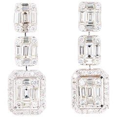 2.39 Carat Baguette and Round Diamond Dangling 18 Karat White Gold Earrings