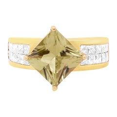 2.39 Carat Natural Color Changing Diaspore and Diamond Ring