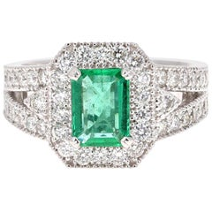 2.39 Carat Emerald Diamond 14 Karat White Gold Engagement Ring