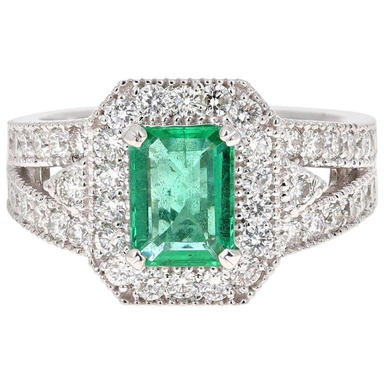 2.39 Carat Emerald Diamond 18 Karat White Gold Art Deco Style Ring