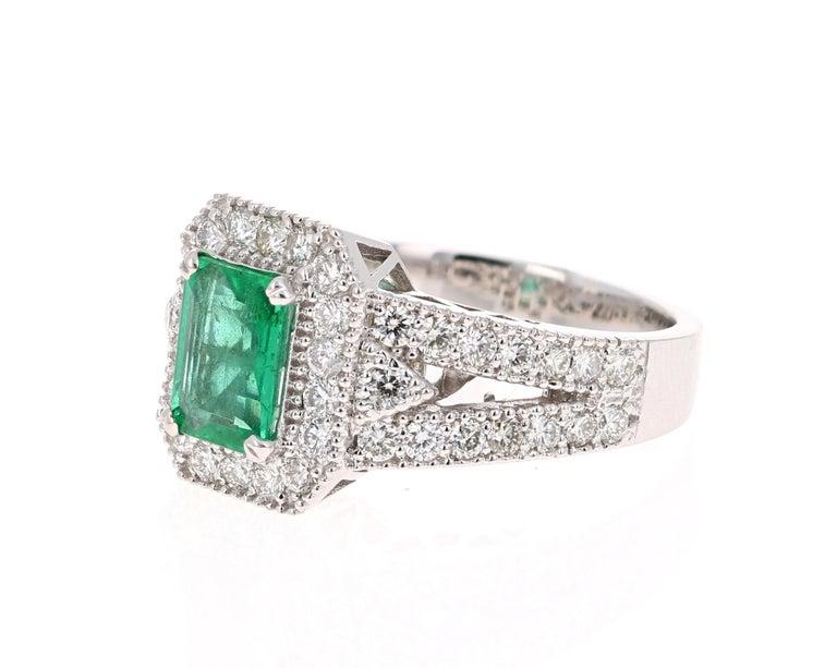 Modern 2.39 Carat Emerald Diamond 18 Karat White Gold Ring GIA Certified For Sale