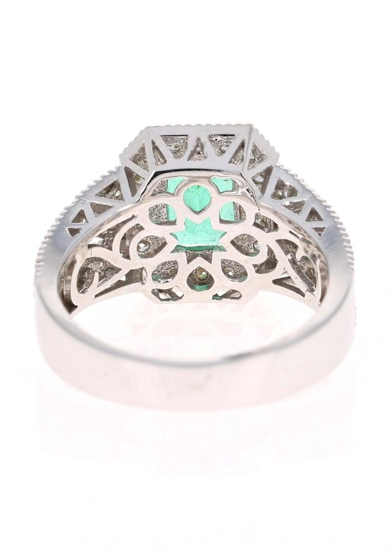 Emerald Cut 2.39 Carat Emerald Diamond 18 Karat White Gold Ring GIA Certified For Sale