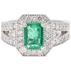 2.39 Carat Emerald Diamond 18 Karat White Gold Ring