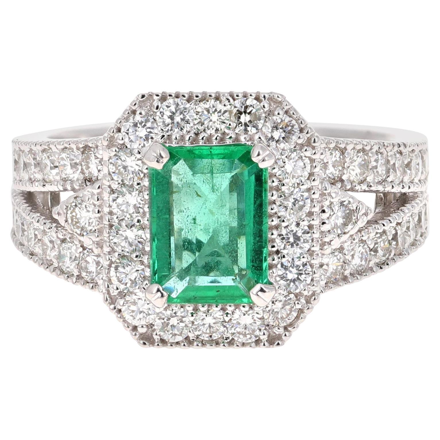 2.39 Carat Emerald Diamond 18 Karat White Gold Ring GIA Certified