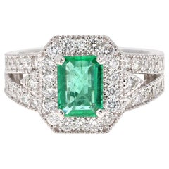 2.39 Carat Emerald Diamond 18 Karat White Gold Ring GIA Certified