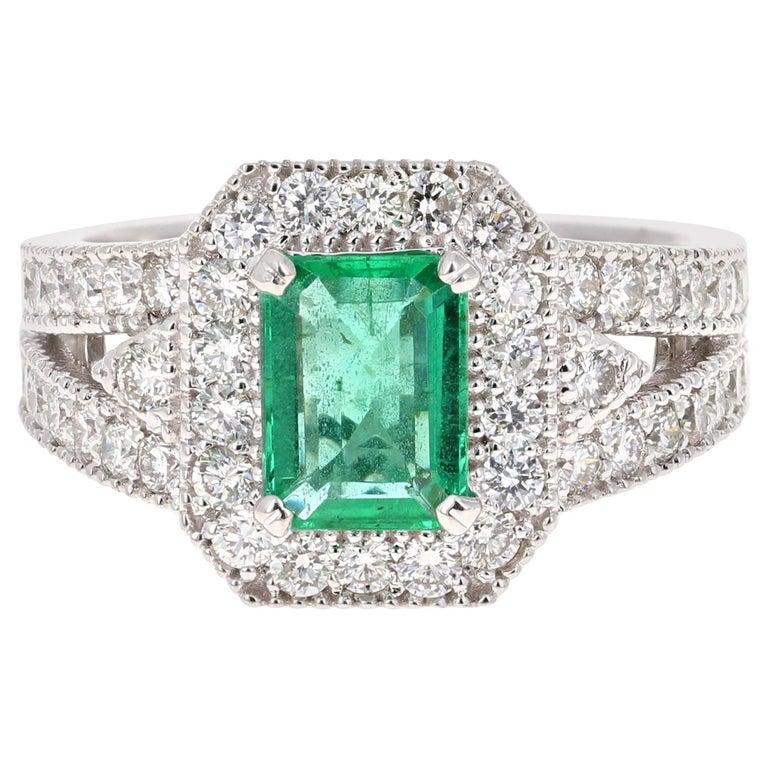 2.39 Carat Emerald Diamond 18 Karat White Gold Ring GIA Certified For Sale