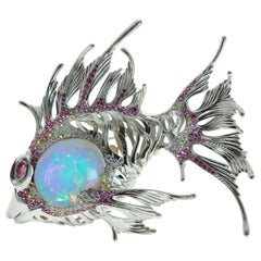 23.9 Carat Opal, Pink Yellow Sapphire, Diamond Fish 18 Karat White Gold Brooch