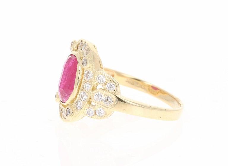 Modern 2.39 Carat Ruby Diamond 14 Karat Yellow Gold Ring For Sale