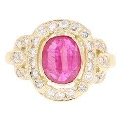 2.39 Carat Ruby Diamond 14 Karat Yellow Gold Ring