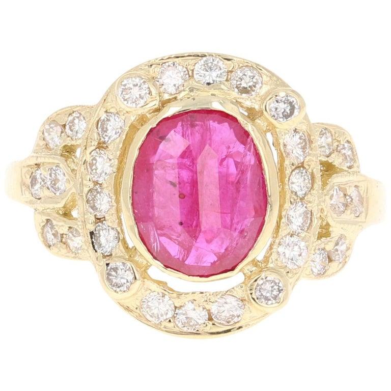 2.39 Carat Ruby Diamond 14 Karat Yellow Gold Ring For Sale