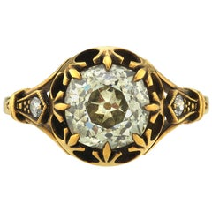 2.39 Carat Vintage Cushion Cut Diamond Set in a Handcrafted 18 Karat Gold Ring