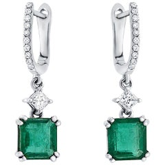 2.39 Ct Natural Emerald & 0.39 Ct Diamonds In 18k White Gold Drop Earrings