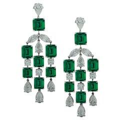 23.92 Carat Colombian Emerald & Diamond Dangle Earrings