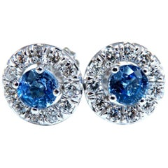 2.39Ct Natural Periwinkle Sapphire Diamonds Cluster Earrings 14 Karat Gold Halo
