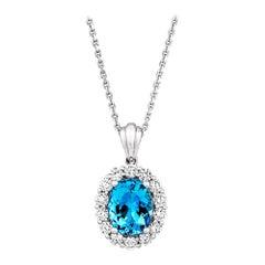 2.3ct Oval Aquamarine .84ct Diamond 18kt White Gold Necklace