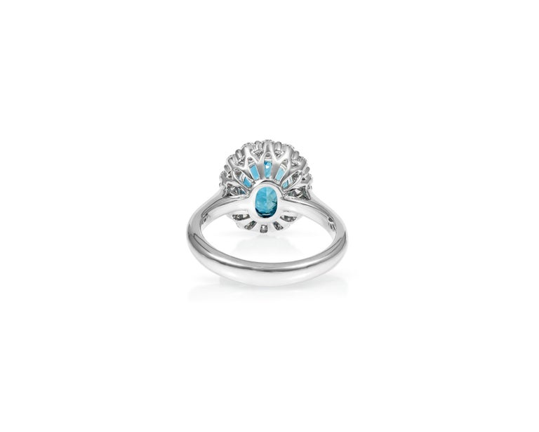 Oval Cut 2.3ct Oval Aquamarine .84ct Diamond 18kt White Gold Ring For Sale