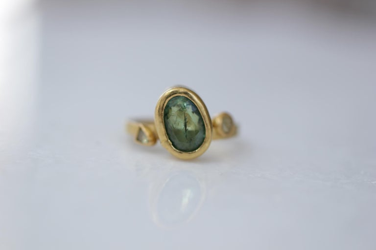 Oval Cut 2.3Ct Russian Demantoid Garnet Yellow Diamonds 22K Gold Bridal Three-Stone Ring For Sale