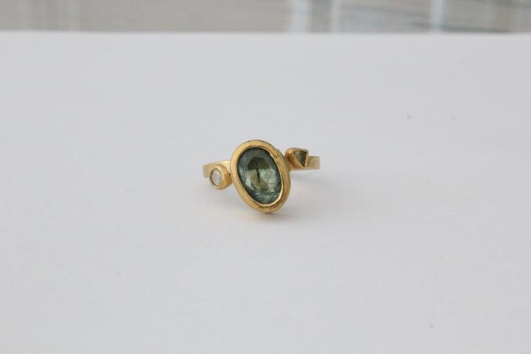 Women's 2.3Ct Russian Demantoid Garnet Yellow Diamonds 22K Gold Bridal Three-Stone Ring For Sale