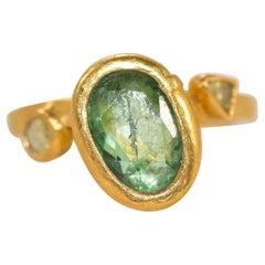 2.3Ct Russian Demantoid Garnet Yellow Diamonds 22k Gold Bridal Three-Stone Ring