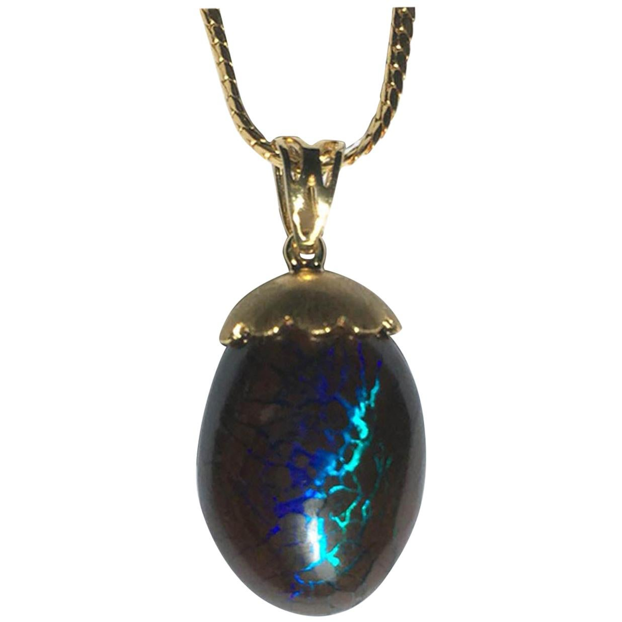23kt Thai Gold Necklace and 18kt Gold Pendant set with Australian Boulder Opal