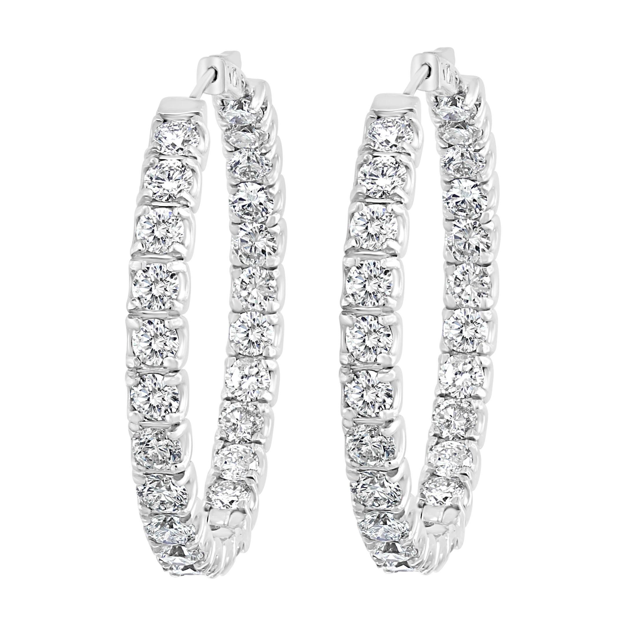 24 Carat, 50 Pointer Each Diamond Inside Out Hoop Earrings 14 Karat White Gold