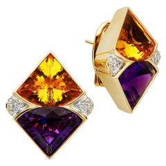 24 Carat Amethyst and Citrine 18 Karat Yellow Gold Diamond Earrings
