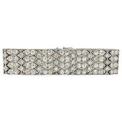 24 Carat 1920 Antique White Diamond Bracelet in Platinum
