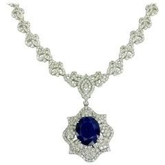 24 Carat Diamond and Blue Sapphire Necklace 18 Karat Gold