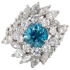 2.4 Carat Diamond Whirlpool Platinum Cocktail Ring with Blue Zircon, circa 1960