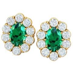 2.4 Carat Emerald and Diamond Halo Earrings