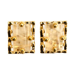 24-Carat Gilded Bronze and Rock Crystal Clip Earrings