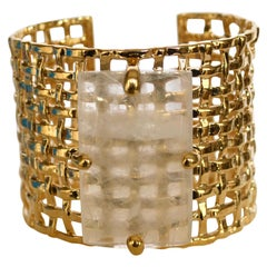 24-Carat Gilded Bronze and Rock Crystal Cuff