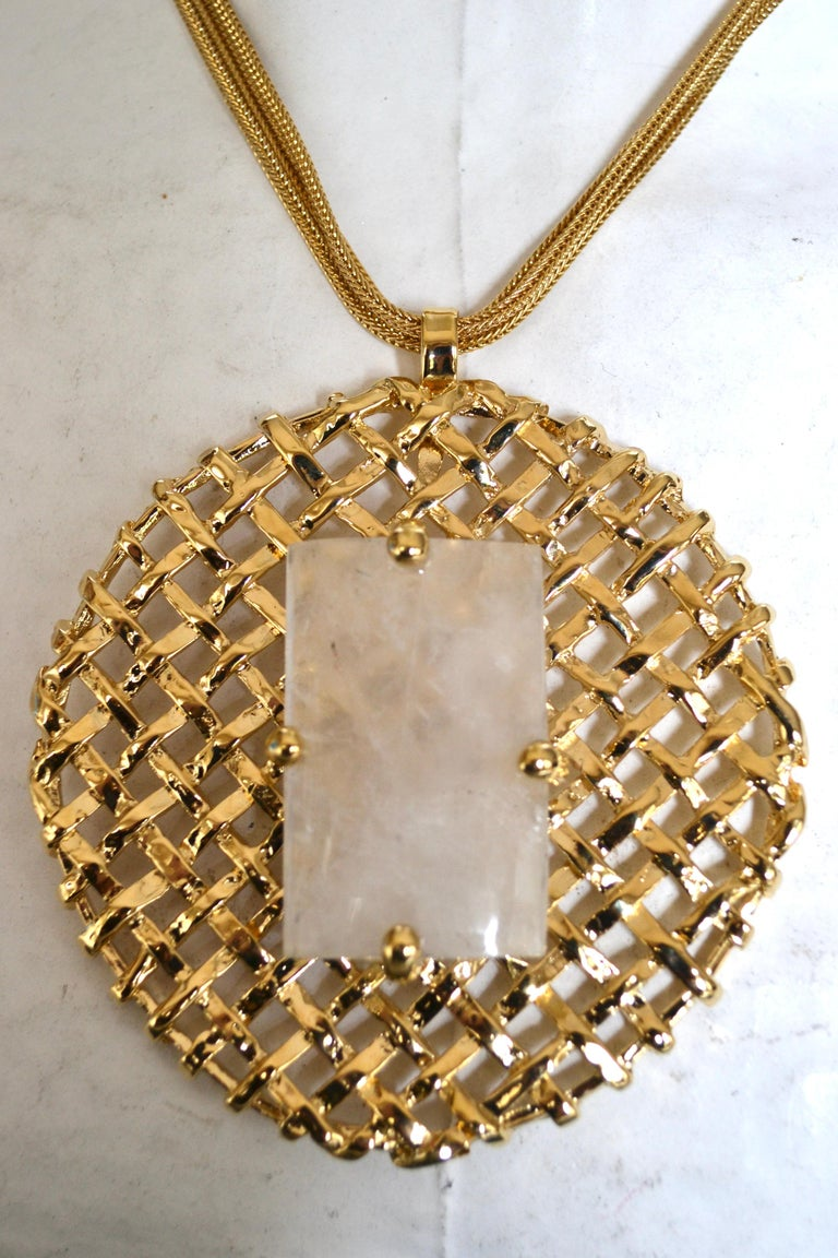 24-carat Gilded Bronze Pendant with Rock Crystal on MultiChain In New Condition For Sale In Virginia Beach, VA