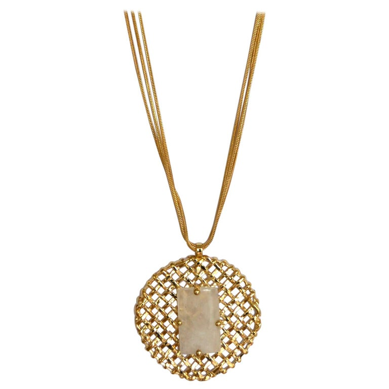 24-carat Gilded Bronze Pendant with Rock Crystal on MultiChain For Sale