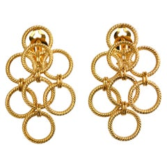 24-Carat Gilded Bronze Triple Clip Earrings