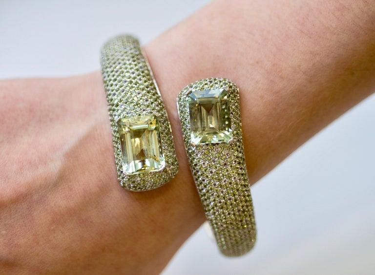 Octagon Cut 24 Carat Green Amethyst Peridot White Topaz 14 Karat White Gold Cuff Bracelet For Sale