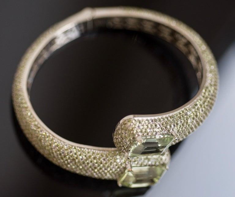 Women's 24 Carat Green Amethyst Peridot White Topaz 14 Karat White Gold Cuff Bracelet For Sale