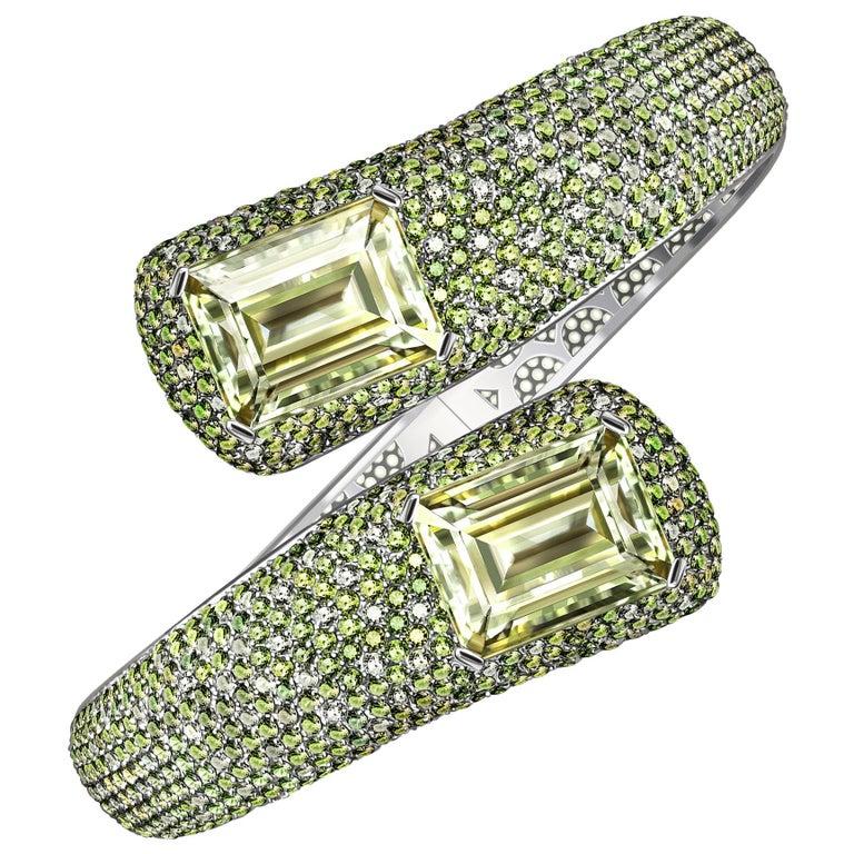 24 Carat Green Amethyst Peridot White Topaz 14 Karat White Gold Cuff Bracelet For Sale