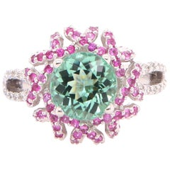 2.4 Carat Green Tourmaline Pink Sapphire and Diamond Ring