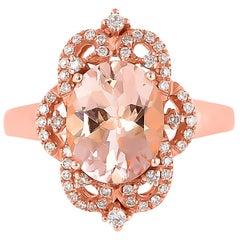 2.4 Carat Morganite and Diamond Ring in 18 Karat Rose Gold