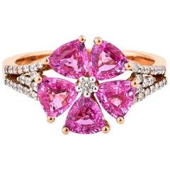 2.4 Carat Pink Sapphire Ring with Diamond in 18 Karat Rose Gold