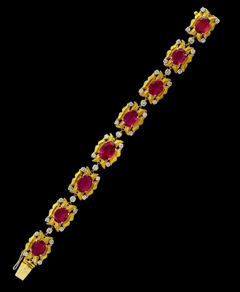 24 Carat Pink Tourmaline & 2.75 Carat Diamond Bracelet In 18 Karat Yellow Gold A spectacular jewelry piece.  This exceptional bracelet has 8  Oval shape Pink Tourmaline  stone . Weight of the Pink Tourmaline  is approximately 24 carats.The bracelet