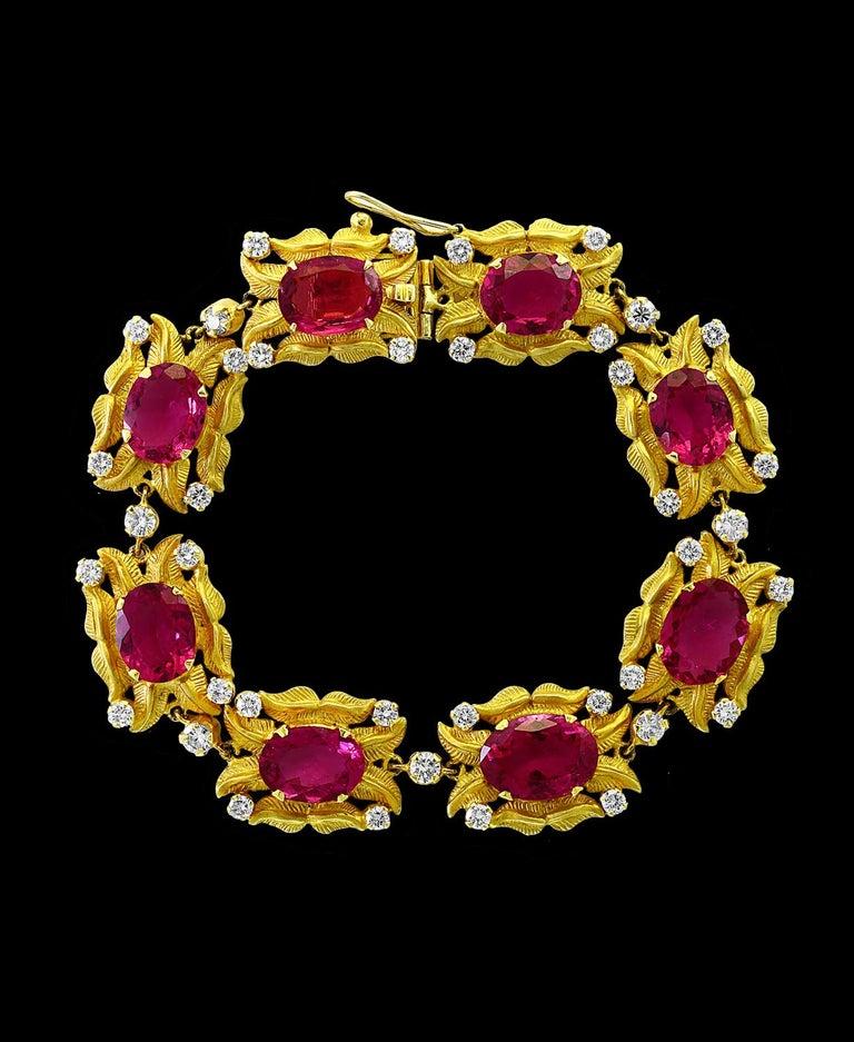 Oval Cut 24 Carat Pink Tourmaline and 2.75 Carat Diamond Bracelet  18 Karat Yellow Gold For Sale